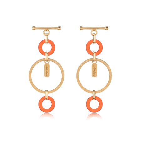 Lock Texture Earrings - Red