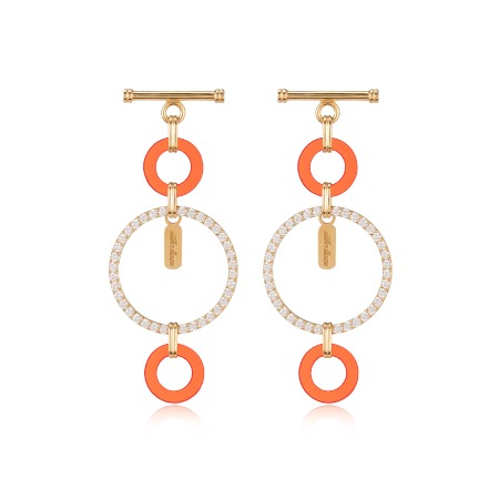 Lock Pave Drop Earrings - Red