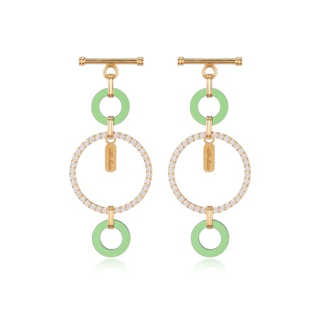 Lock Pave Drop Earrings - Green