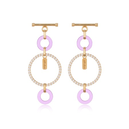 Lock Pave Drop Earrings - Purple