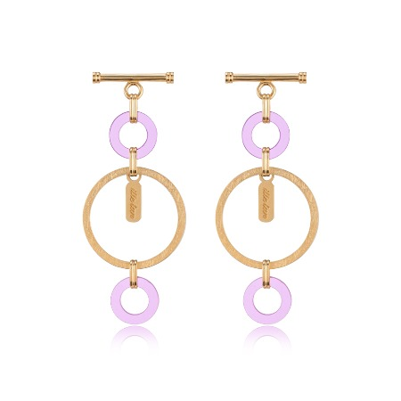 Lock Texture Earrings - Purple
