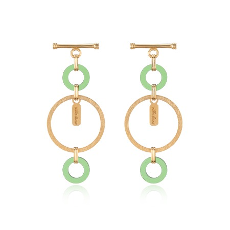 Lock Texture Earrings - Green